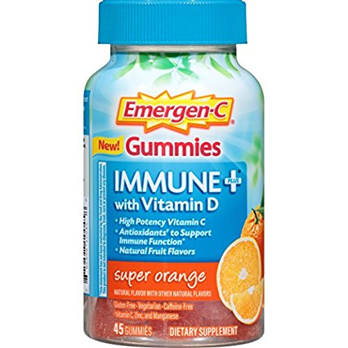 Emergen-C Gummies Immune Plus Vitamin D, Super Orange, 45 Gummies (Pack of 2)