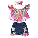 Toddler Baby Girls Summer Clothes Set Off Shoulder Tops and Denim Short Pants 3pcs Outfits (Rose, Age 2T)