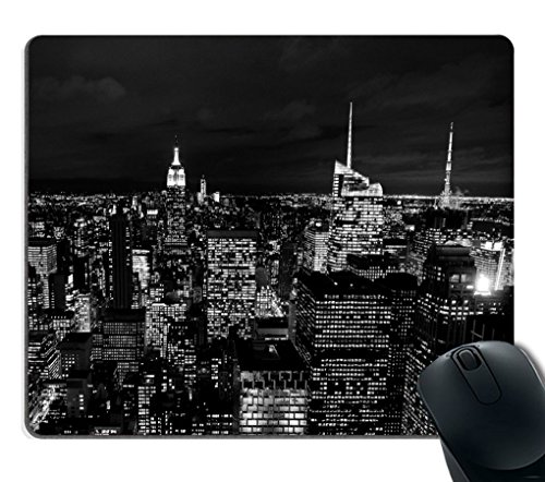 Smooffly Gaming Mouse Pad Custom,Black and White City New York Night Sky Rectangle Mouse Pad