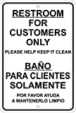 Restrooms for Customers Only - English/Spanish 8'x12' Aluminum Sign