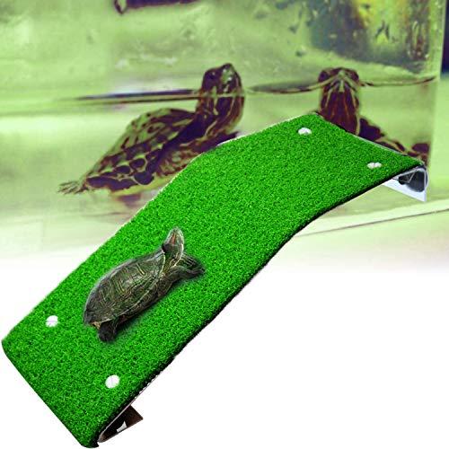 aleawol Rampa para tortuga, plataforma para reptiles, rampa para tortuga, escalera, tortuga, tomar el sol, plataforma, simulación de césped, para decoración de acuario, mascotas, suministrado