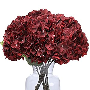 Kimura's Cabin Fake Flowers Vintage Artificial Silk Hydrangea Flowers Bouquets 5 Heads for Home Table Centerpieces Wedding Party Decoration (Spring Red)