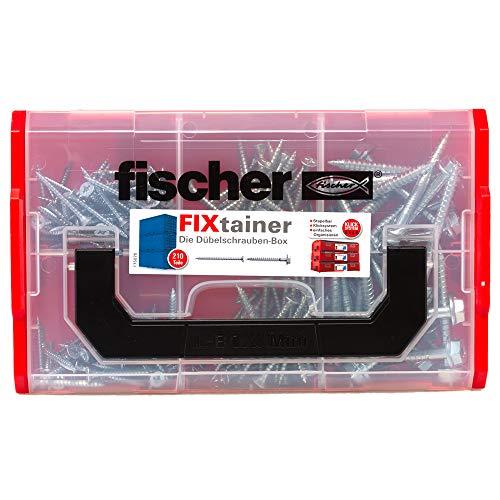 fischer FIXtainer Dübelschrauben, 210 Schrauben (120 x SK 4,5 x 40, 60 x SK 5,0 x 60, 30 x Sicherheitsschraube 7,0 x 69 6kt. US T40), praktisches Dübelset, Werkzeugkiste mit Tragegriff & Klicksystem
