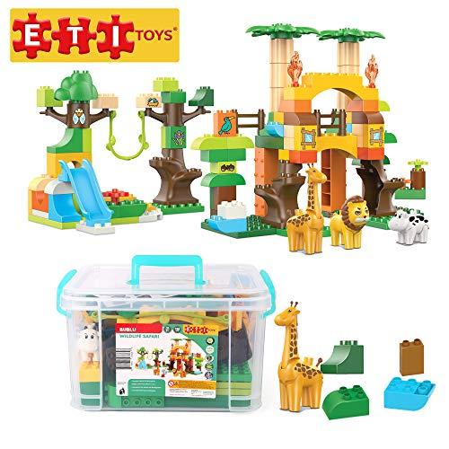 ETI Toys, 110 Piece Bublu Wildlife Safari Building Blocks. Build Forest, Wild Animals Habitat. 100 Percent Safe, Fun, Creative Skills Development. Gift, Toy for 3, 4, 5 Year Old Boys and Girls