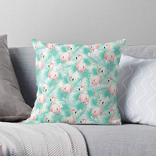 XCNGG Bird Mint Palm Tropical Leaves Pattern Modern Green Flamingo - Pillow Case Cotton Polyester - Indoor Decorative Pillow Square Cushion Cover for Bedroom Sofa Living Room