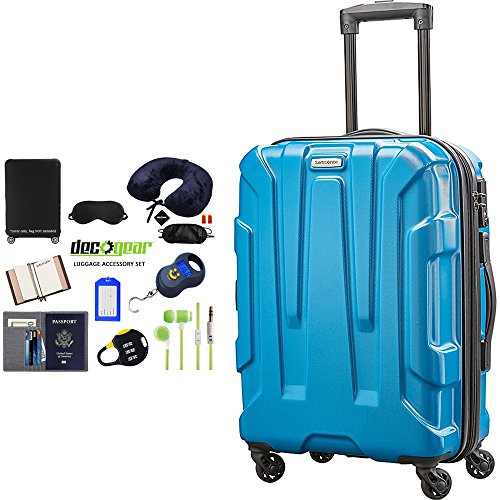 Samsonite 92794-2479 Centric Hardside 20 Carry-On Luggage Spinner - Caribbean Blue Bundle w/Deco Gear Luggage Accessory Kit (10 Item)