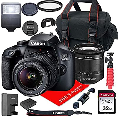 Canon EOS 4000D DSLR Camera w/Canon EF-S 18-55mm F/3.5-5.6 III Zoom Lens + Case + 32GB SD Card (15pc Bundle) from Canon