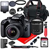 Canon EOS 4000D / Rebel T100 DSLR Camera w/Canon EF-S 18-55mm F/3.5-5.6 III Zoom Lens + Case + 32GB SD Card (15pc Bundle)