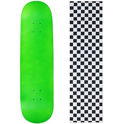 Moose Blank Skateboard Deck - NEON Green - 7.5' Checker White Grip