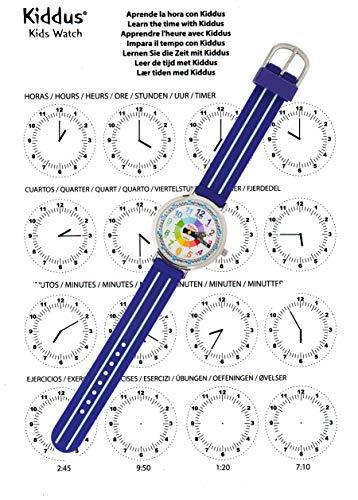 KIDDUS Montre Bracelet Éducative pour Enfants, garçon. Time Teacher Analogique avec Exercices....