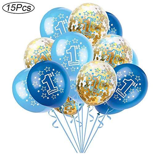 15 Stück Blaue alles Gute zum Geburtstag Dekorations Luftballons,Deko 1. Geburtstag Junge, 12 Zoll Goldenes Konfetti Latex Luftballons, für Junge Mädchen Geburtstag, Babyparty, Ersten Jahrestag (Blau)