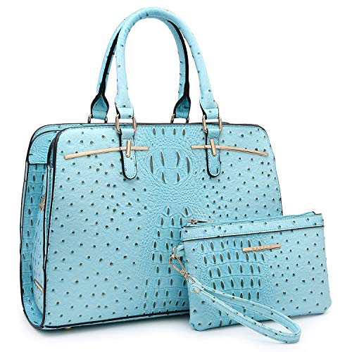 Dasein Women Satchel Handbag Shoulder Purse Top Handle Work Bag Tote Bag With Matching Wallet (Turquoise Ostrich)