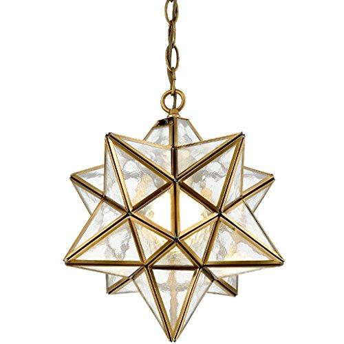 TRPYA Borrar Vidrio Moravia Estrella Colgante Luces araña Techo luz Retro Estilo e26 11.8 Pulgadas Amarillo (Color : B)