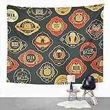 Y·JIANG Tapiz vintage, cerveza con varias etiquetas de cerveza con imágenes de barriles Mills Home Dormitorio decorativo grandes tapices para colgar en la sala de estar, dormitorio, 60 x 50 pulgadas