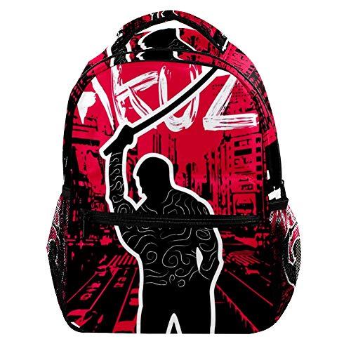 Yakuza Hintergrund Rucksack Grund- und Mittelschule Studenten Buch Tasche Outdoor Reisen Wandern Pack Trend Casual Große Kapazität für Mädchen Jungen