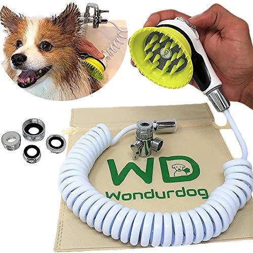 Wondurdog Quality Sink Faucet Pet Wash Kit | Innovative Shower Brush w/Splash Shield | 10ft Recoil Hose & Metal Faucet Diverter | Kitchen, Bathroom, Utility & Laundry Sinks | Faucet Adapters Included
