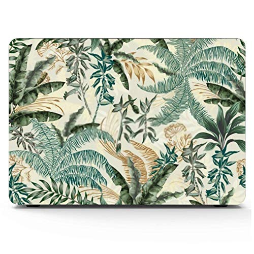 Mac book Pro Case Leaf Palm Tropical Trees Branches Exotic Mac book Pro 15'(NO CD-ROM,2016-2018 Ver) A1707/A1990 Plastic Case Keyboard Cover & Screen Protector & Keyboard Cleaning Brush
