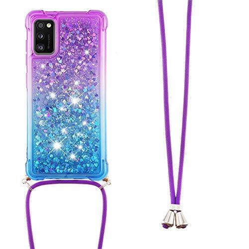IMEIKONST Glitzer Handyhülle für Samsung Galayx A41 Hülle, Quicksand Fließende Flüssigkeit schwimmt Silikon Hülle mit Umhängeband Handykordel Band Kette für Samsung Galayx A41 Purple Blue YB
