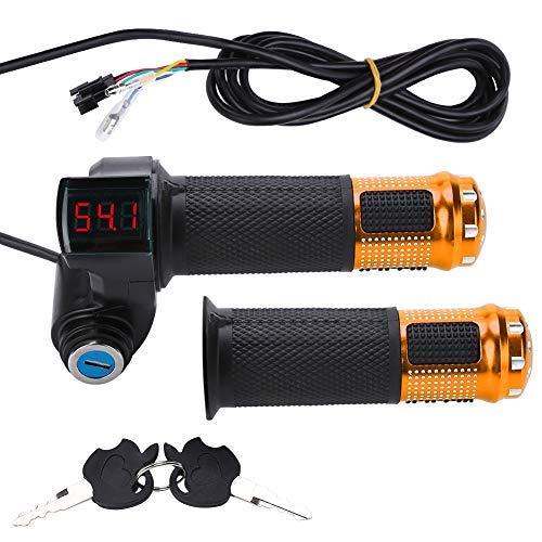 Elektrofahrrad Gasgriff Elektro-Scooter Batteriespannung mit LED-Anzeige und Power Key Locker Accelerator ( Farbe : Golden )