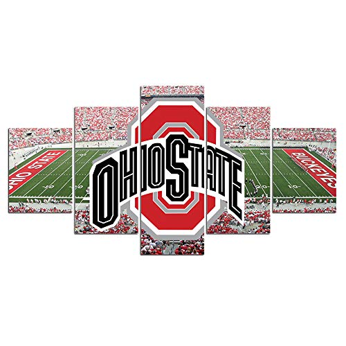 Ohio State Buckeyes Wall Decor Art Paintings 5 Piece Canvas Picture Artwork Living Room Prints Poster Decoration Wooden Framed Ready to Hang(60''Wx32''H)