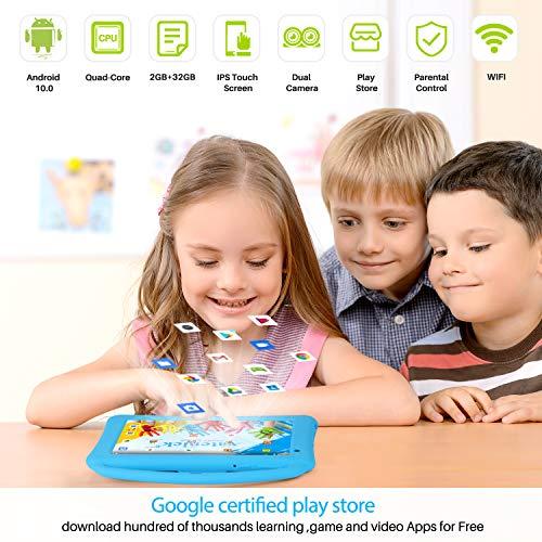 Tablet Niños 7 Pulgadas Pantalla IPS HD WiFi QuadCore Android 10.0 Pie Tablet PC para Niños - Certificación GMS 2GB + 32GB Funda Silicona Portátil Mano Regalo Cumpleaños para Niños (Blue)