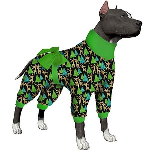 LovinPet Fat Dog Christmas Pajamas/Home Three Wise Santas Metallic Deeries Black Prints/Lightweight Pullover Pet Pajamas/Full Coverage Large Dog Onesie Jumpsuit Pjs