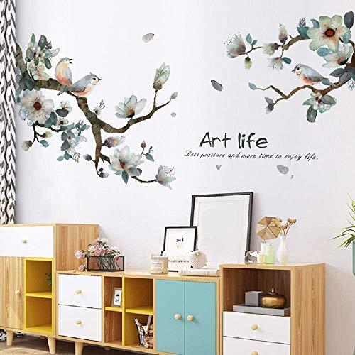Esmee Hojas y Pájaros. Pegatinas de Pared Vinilo Decorativo con Para Salón, Oficina, Baño, Cocina, Dormitorio, Decoración del hogar.
