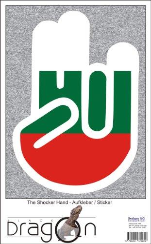 THE SHOCKER HAND - Wandtattoo / Wandaufkleber/ Aufkleber - weißer Umriss mit Fahne / Flagge - Bulgaria-Bulgarien 100 cm