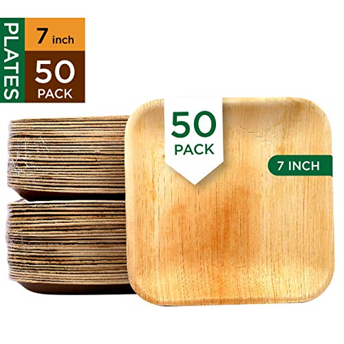 Raj Disposable Palm Leaf Plates [50-Pack] 7' Square Plates Strong and Reusable Party Plates - Decorative Compostable Tableware for Lunch, Dinner, Birthday, Camping, Outdoor BBQ, Picnic Parties 7 inch