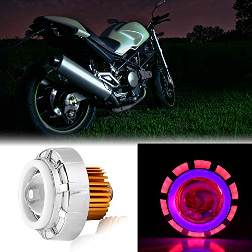 Yunhany Direct LED-koplamp voor motorfiets, met engel, duiveloptiek, rond, decoratie