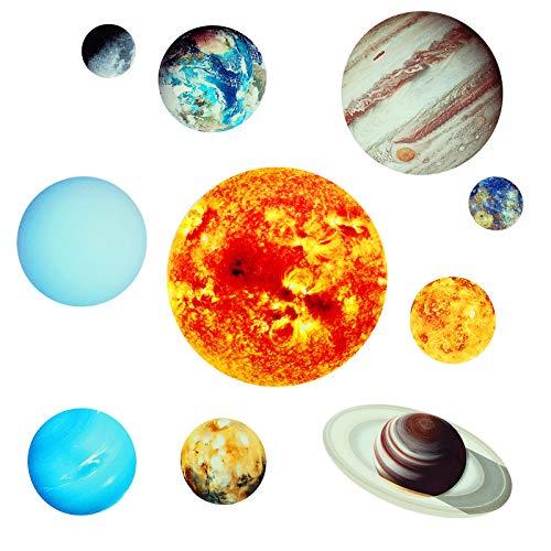 CNNIK Pegatinas de Pared Luminosos 9 Planetas, Pegatina Pared Fluorescente Sistema Solar, Decoración para el Hogar Dormitorio Sala para Habitación de los Niños Amigos