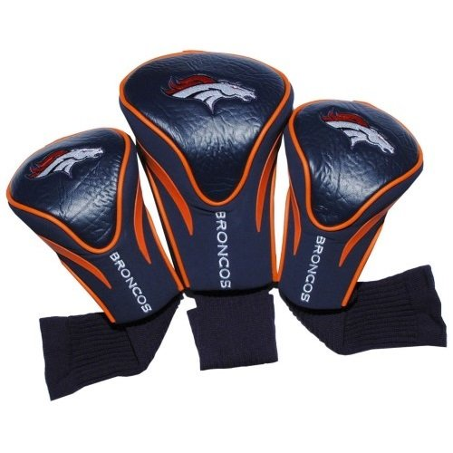 Team Golf NFL Denver Broncos Contour Golf Club Headcovers 3 Count Numbered 1 3 amp X Fits Oversized Drivers Utility Rescue amp Fairway Clubs Velour lined for Extra Club Protection