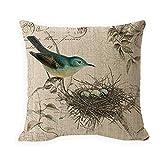 WH-CLA Couch Cushions Retro Mother Bird Se Ocupa De Los Huevos En El Nido Funda De Almohada Especial Duradera para Oficina Fundas De Almohada Suave Funda De Almohada Silla Sala De Estar