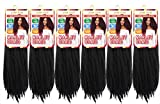6 Pack Marley Hair For Twist Marley Braiding Crochet Hair Long Afro Kinky Twist Crochet Braid Kanekalon Synthetic Hair Extensions(20Inch-6PCS, 1B#)