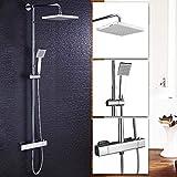 Hausbath Bathroom Thermostatic Mixer Shower Valve with 200mm Square Rain Fall Shower Shower