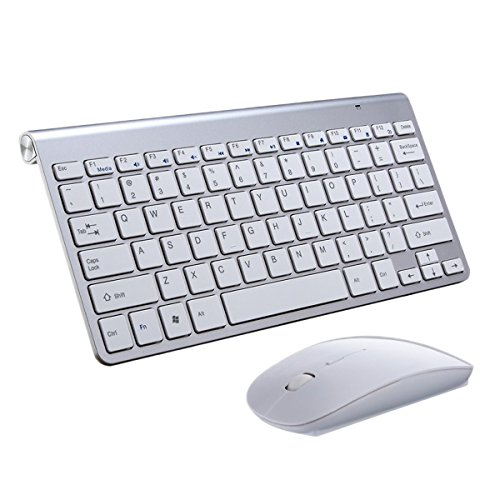 Teclado Ratón Inalámbrico,SUAVER Teclado compacto Ultra Slim Teclado inalámbrico 2.4GHz Ratón ópticos(DPI 800/1200/1600) Oficina Ratón Ahorra de Energía, para PC Portátil Windows,Receptor USB (Plata)