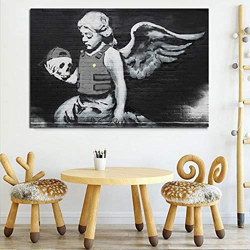 YuanMinglu Banks Engel und kugelsichere Weste auf Leinwand Wohnzimmer Wohnkultur Ölgemälde Moderne Kunst Wandkunst Poster rahmenlose Malerei 30x45cm