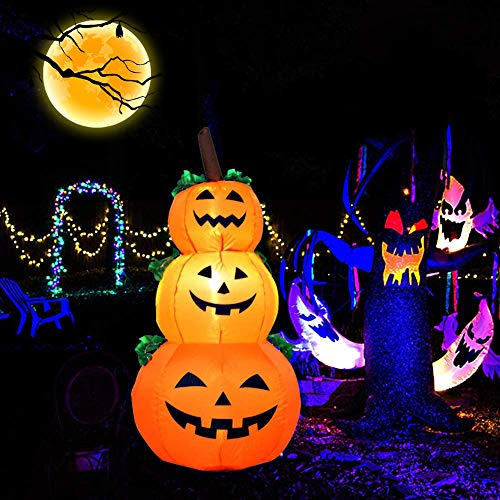 EnweNge Halloween Inflatable Stacked Pumpkins, Self-Inflated Pumpkin Decoration with Build-in LEDs Blow Up Inflatables for Halloween Party Indoor, Outdoor, Yard, Garden