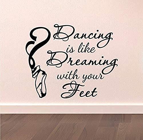 Pegatinas De Pared Pegatinas Wallpaper Dance Wall Decal Stickers Bailar Es Como Soñar Con Tus Pies Cotizaciones Bailarina Bailarina Ballet Pointe Zapatos Arte Vinilo 51X42Cm