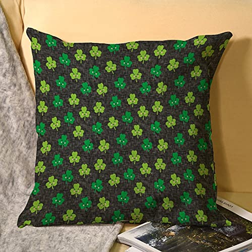 Best-design Funda de almohada de lino gris oscuro con diseño de tréboles, funda de almohada de 45 x 45 cm