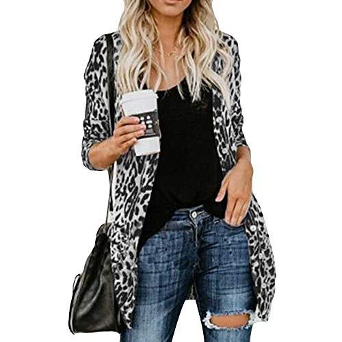 iHENGH Damen Herbst Winter Bequem Lässig Mode Frauen Langarm Leopard Print Mode Mantel Blusen T Shirt Tank Tops(L,Grau)