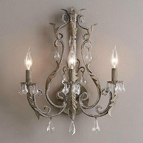 G0000D Chandelier Vintage/Antique/Retro White/Grey Crystal Wall Lamp French Wall Lights Home Interior Decoration Bedside Bedroom Wall Sconce Light Top Quality & Free Shipping== [Vintage Gray E14X2]