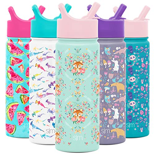 Simple Modern 18oz Summit Kids Water Bottle Thermos with Straw Lid - Dishwasher Safe Vacuum Insulated Double Wall Tumbler Travel Cup 18/8 Stainless Steel -Fox and The Flower