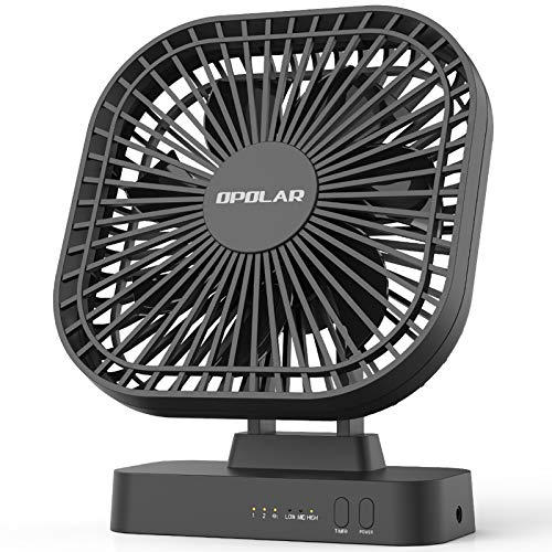 OPOLAR AA Battery Operated Desk Mini Fan, Portable Small Table Fan,7-Blade Design,90-Degrees Adjustable Head, 1/2/4 Hours Timer, Indoor and Outdoor Use