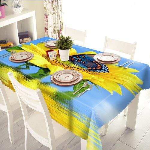 XXDD Mantel de Girasol 3D patrón de Flores de Colores Lavable a Prueba de Polvo paño de algodón Grueso Mantel Rectangular A6 150x210cm