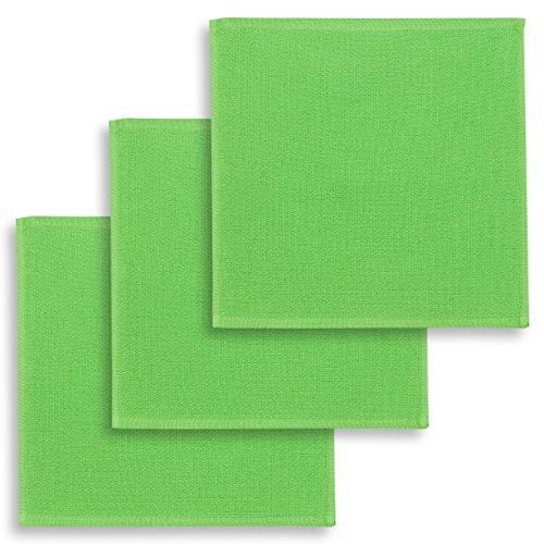 ziczac-affaires KRACHT, Spültuch, Poliertuch, Putztuch, 100% Baumwolle, 6 Farben, 4 Setvarianten, Edition, Format 30x30 cm (3er Set, grün)