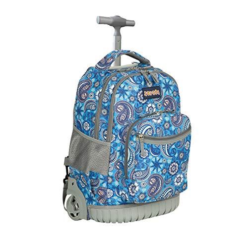 Schulranzen mit Rollen für Mädchen Jungen Kinder,ZOVOTA Schultrolley Schultaschen Schulrucksack Trolley Kinderrucksack 1. Klasse bis 12.Klasse 18 Zoll 20L Paisley