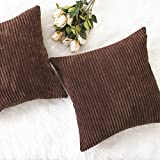 Home Brilliant Decor Solid Plush Corduroy Striped Square Throw Pillow Covers Cushion Covers Decorative, Set of 2, 18x18 inches (45cm), Brown