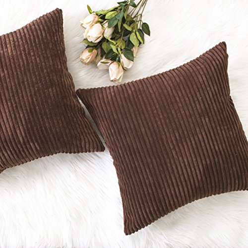 Home Brilliant Winter Decor Solid Plush Corduroy Striped Square Throw Pillow Covers Cushion Covers Decorative, Set of 2, 18x18 inches (45cm), Brown