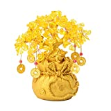 Bwinka 8 inch Feng Shui Frog Yellow Crystal Money Tree with Wealth Coins for Office Home Table Office Wealth Luck,Best Gift